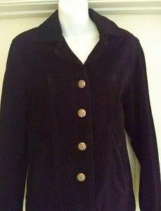 Black Suede Leather Burton Front Jacket Blazer MD